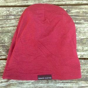 "3ae121497bcf0 Accessories - GRACE ELEYAE wine colored silk lined ""slap cap"""